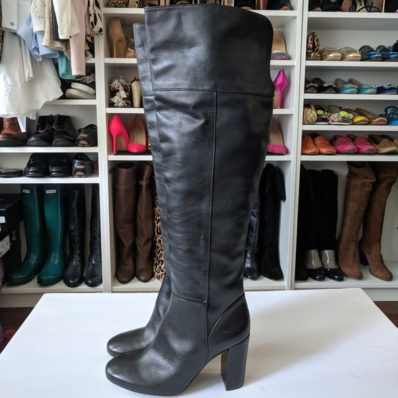 Tory Burch Shoes - Tory Burch Black Bowie Over the Knee Leather Boots